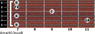 Amaj9/13sus/B for guitar on frets 7, 11, 7, 9, 7, 7