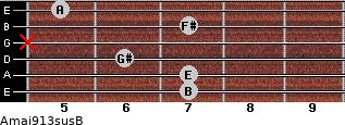 Amaj9/13sus/B for guitar on frets 7, 7, 6, x, 7, 5