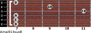 Amaj9/13sus/B for guitar on frets 7, 7, 7, 11, 9, 7