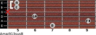 Amaj9/13sus/B for guitar on frets 7, 9, 6, x, 5, 5