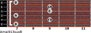 Amaj9/13sus/B for guitar on frets 7, 9, 7, 9, 9, 7
