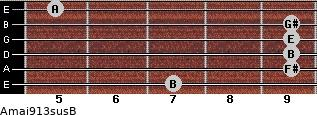 Amaj9/13sus/B for guitar on frets 7, 9, 9, 9, 9, 5