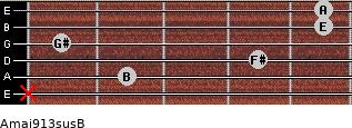 Amaj9/13sus/B for guitar on frets x, 2, 4, 1, 5, 5