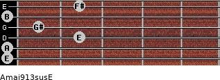 Amaj9/13sus/E for guitar on frets 0, 0, 2, 1, 0, 2
