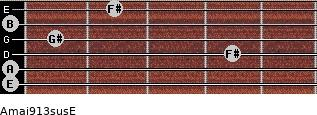 Amaj9/13sus/E for guitar on frets 0, 0, 4, 1, 0, 2