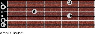 Amaj9/13sus/E for guitar on frets 0, 0, 4, 2, 0, 4