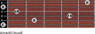 Amaj9/13sus/E for guitar on frets 0, 2, 4, 1, 0, 5