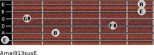 Amaj9/13sus/E for guitar on frets 0, 2, 4, 1, 5, 5