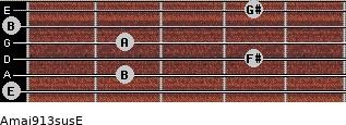 Amaj9/13sus/E for guitar on frets 0, 2, 4, 2, 0, 4