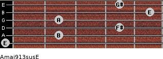Amaj9/13sus/E for guitar on frets 0, 2, 4, 2, 5, 4