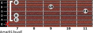 Amaj9/13sus/E for guitar on frets x, 7, 7, 11, 9, 7
