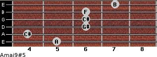 Amaj9#5 for guitar on frets 5, 4, 6, 6, 6, 7