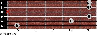 Amaj9#5 for guitar on frets 5, 8, 9, x, 9, 9