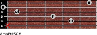 Amaj9#5/C# for guitar on frets x, 4, 3, 1, 0, 5
