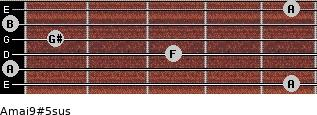 Amaj9#5sus for guitar on frets 5, 0, 3, 1, 0, 5