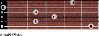 Amaj9#5sus for guitar on frets 5, 2, 3, 2, 0, 4
