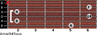 Amaj9#5sus for guitar on frets 5, 2, 6, 2, 6, x