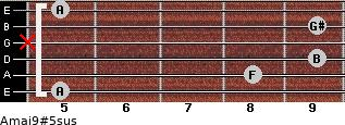 Amaj9#5sus for guitar on frets 5, 8, 9, x, 9, 5