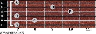 Amaj9#5sus/B for guitar on frets 7, 8, 7, 10, 9, 7