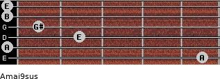 Amaj9sus for guitar on frets 5, 0, 2, 1, 0, 0