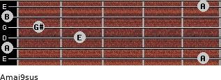 Amaj9sus for guitar on frets 5, 0, 2, 1, 0, 5
