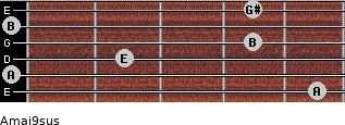 Amaj9sus for guitar on frets 5, 0, 2, 4, 0, 4