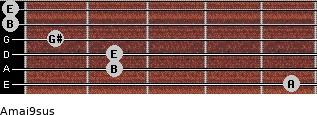 Amaj9sus for guitar on frets 5, 2, 2, 1, 0, 0