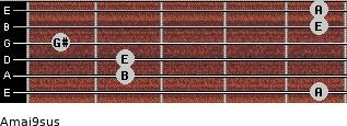 Amaj9sus for guitar on frets 5, 2, 2, 1, 5, 5