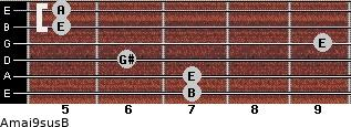 Amaj9sus/B for guitar on frets 7, 7, 6, 9, 5, 5
