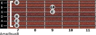 Amaj9sus/B for guitar on frets 7, 7, 7, 9, 9, 7