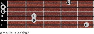 Amaj9sus add(m7) for guitar on frets 5, 2, 2, 0, 0, 4