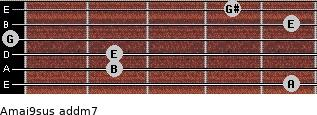 Amaj9sus add(m7) for guitar on frets 5, 2, 2, 0, 5, 4
