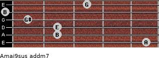 Amaj9sus add(m7) for guitar on frets 5, 2, 2, 1, 0, 3