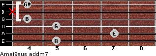 Amaj9sus add(m7) for guitar on frets 5, 7, 5, 4, x, 4