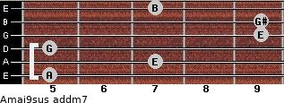 Amaj9sus add(m7) for guitar on frets 5, 7, 5, 9, 9, 7