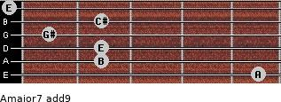 Amajor7(add9) for guitar on frets 5, 2, 2, 1, 2, 0