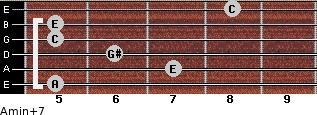 Amin(+7) for guitar on frets 5, 7, 6, 5, 5, 8