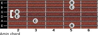Amin for guitar on frets 5, 3, 2, 2, 5, 5