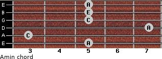 Amin for guitar on frets 5, 3, 7, 5, 5, 5