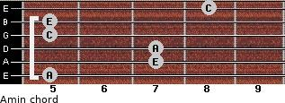 Amin for guitar on frets 5, 7, 7, 5, 5, 8