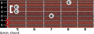 Amin for guitar on frets x, x, 7, 5, 5, 8