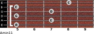 Amin11 for guitar on frets 5, 7, 5, 7, 5, 8
