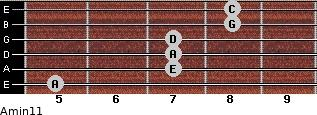 Amin11 for guitar on frets 5, 7, 7, 7, 8, 8