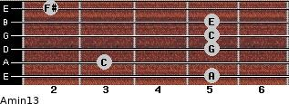 Amin13 for guitar on frets 5, 3, 5, 5, 5, 2