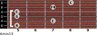 Amin13 for guitar on frets 5, 7, 5, 5, 7, 8