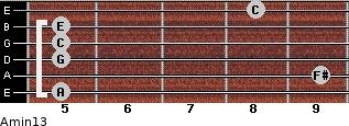 Amin13 for guitar on frets 5, 9, 5, 5, 5, 8