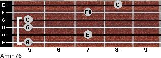 Amin7/6 for guitar on frets 5, 7, 5, 5, 7, 8