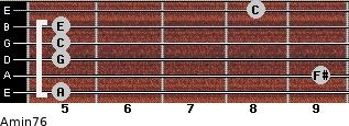 Amin7/6 for guitar on frets 5, 9, 5, 5, 5, 8