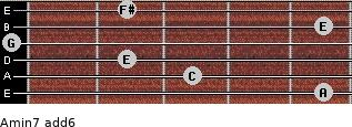 Amin7(add6) for guitar on frets 5, 3, 2, 0, 5, 2