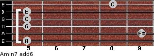 Amin7(add6) for guitar on frets 5, 9, 5, 5, 5, 8